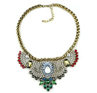 2015 New  Brand Vintage Necklaces Fashion  Women Collar Chokers  Necklaces Crystal Gem Statement Jewelry  DFX-762