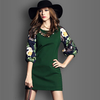 Fashion New 2015 Autumn Winter Splice Back zipper Casual Tops Plus Size three quarter sleeves o-neck Women's Sexy Dress