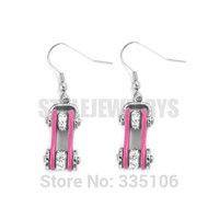Free Shipping! Pink Bicycle Chain Motor Earrings Stainless Steel Jewelry Bling Rhinestone Motorcycles Biker Earring SJE370127