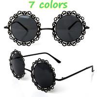 Fashion 2015 Women Metal Round Openwork Lace Feminino Sunglasses Vintage Casual Style Sun Glasses Oculos Shades Ladies Glasses