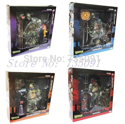 Free Shipping 4PCS Movie Revoltech Teenage Mutant Ninja Turtles Figure 5 inches(China (Mainland))