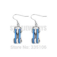Free Shipping! Blue Bicycle Chain Motor Earring Stainless Steel Jewelry White Rhinestone Motorcycles Biker Earring SJE370124