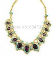 2015 New Luxury accessories Golden Crown Purple Glass stones Choker Bib Statement Necklace Party Fashion Women Diamond Jewelry