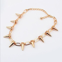 New Vintage Triangle Personality Rivet Necklace Gothic Jewelry for Women Chain Collar Choker Statement Necklace Free