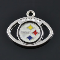 Rhodium Plated Sports Style Pittsburgh Steelers Sport Team Logo Enamel Charms