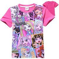 4-10Y Summer roupas de crianca Cartoon MONSTER HIGHT CLOTHES Teenage Girls Cotton Short Sleeve T shirt VETEMENT ENFANT