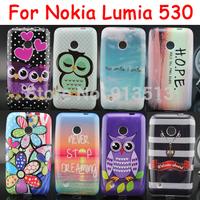 For Nokia Lumia 530 Case Sleep Owl Flower Stripes Soft TPU Mobile Phone Bags Cases Cover For Nokia 530