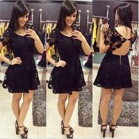 Women Girls Sexy Cute Mini Dresses O-Neck Short Sleeve Backless Appliques Lace Dress Women