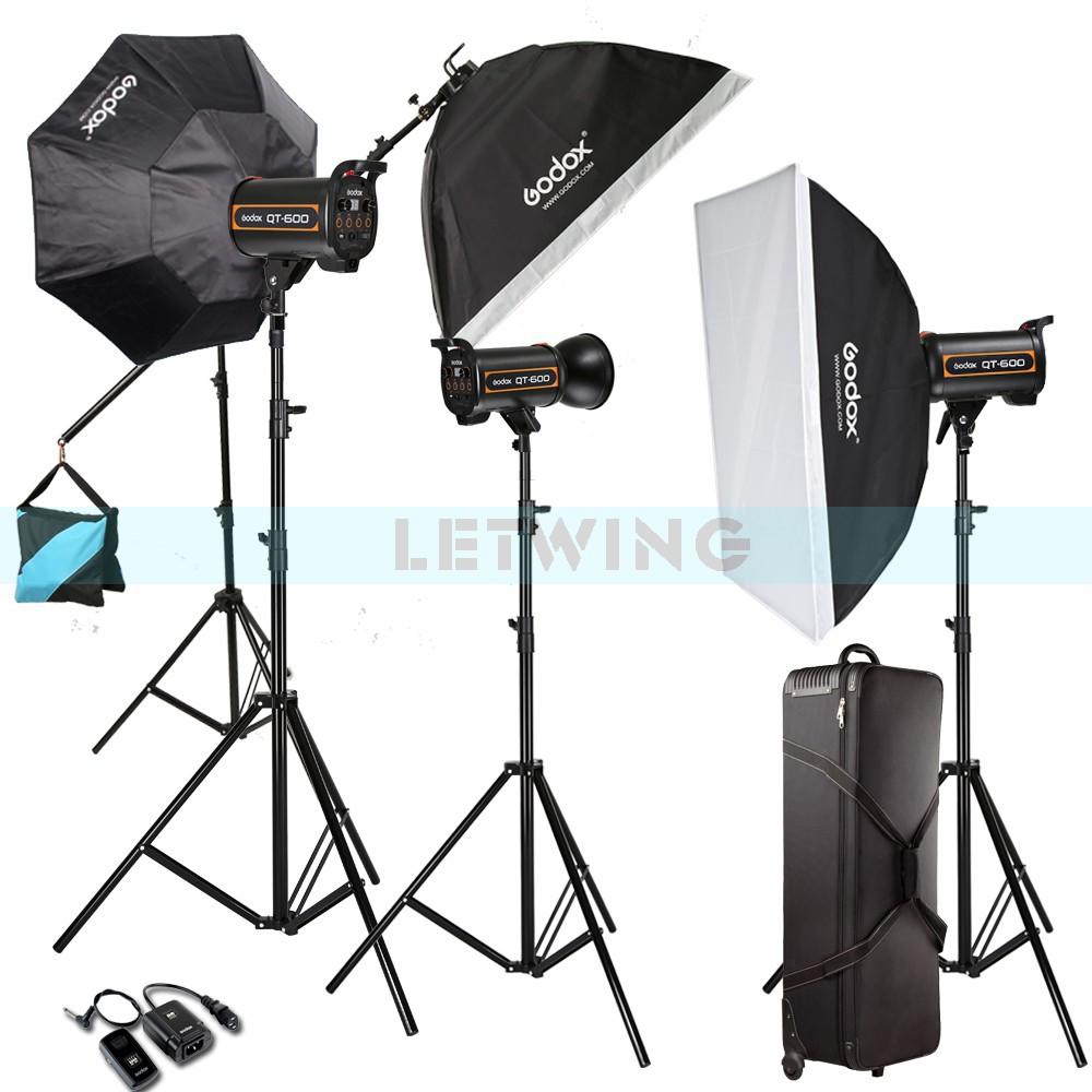 Godox 1800W 3X 600W High Speed Flash Light Studio Strobe lighting & Softbox & Light Stand Professional Photography Kit(China (Mainland))