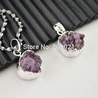 NEW!  8pcs Amethyst Crystal Drusy , Silver Plated Edge Druzy Quartz Stone Charms Pendant Jewelry