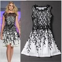 S-XXXL 2015 summer hot sale slim contrast color patchwork lace women dress plus size woman elegant clothing vestidos femininos