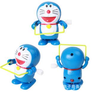 Wholesale 2pcs/lot Clockwork jingle cats jumping rope machine cat doraemon toys(China (Mainland))