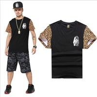 Free shipping Summer 2015 Famous Brand 100% Cotton pattern fitness sprot man t-shirts hip hop t shirt men top short sleeve