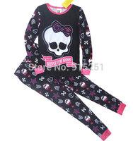 cool!  girls spring autumn winter monster high  Pajamas set sleepwear  girl homewear cartoon costumes children kids 6-10y