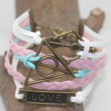 Vintage Braided Cupid Aorror Charms Leather Bracelet Multilayer Rope Bracelets Wrap Bracelets Wholesale Bangle TGBT20150162