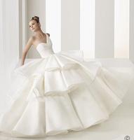 E124 2015 fashionable bride one shoulder layers wedding dress plus size custom made bridal gown gowns vestido de noiva casamento