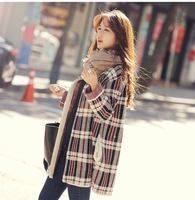 2015 autumn plus size female sweater outerwear loose medium-long thickening knitted wool cardigan checked disign sweater