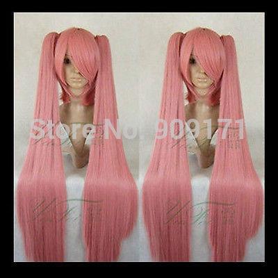 free Shipping **Princess Mononoke COSPLAY DARK PINK Wig+2xClip On Ponytail 100cm Cos Wig Hair(China (Mainland))