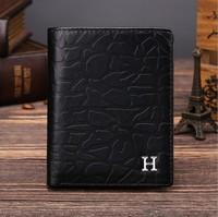 2015 Luxury Fashion Men's Genuine Leather Wallet Inside clasp Card Holder Purse Wallet high-grade short Male wallet
