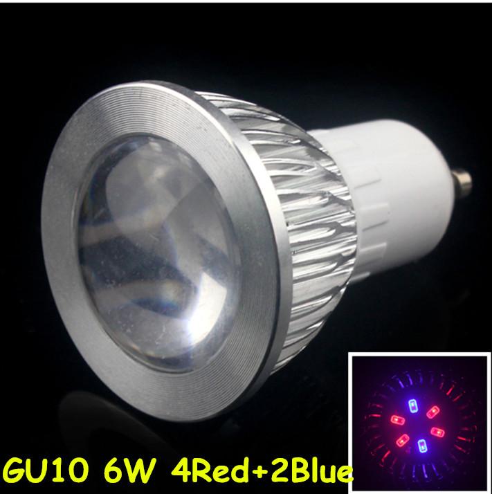 5pcs New Hydroponics Lighting AC85-265V 6W GU10 RED/BLUE Hydroponic Led Plant Grow Lights Led Bulb Led Light Growth lamp(China (Mainland))