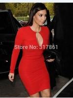 2015 New Top Quality Red Kim kardashian Bandage Dress Sxy Club Dress