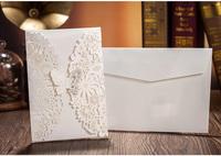 50 sets(Card+envelop+seal) White Laser Cut Wedding Invitations Cards Engagement Gatefold Invite 18.5*12.7cm Wedding Favours