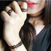 1 Set Of 2015 Fashion Women Girls Vintage Stretch Tattoo Choker Necklace Set Retro Gothic Punk Elastic Adjustable Stretchy