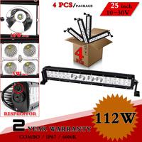 """4pcs 25"""" 112W LED Light Bar 12V 24V For SUV Truck Tractor ATV Offroad Fog Light LED Worklight External Light Save on 120W 180W"""