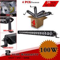 "4pcs 20"" inch 100W LED Light Bar For Offroad 4x4 Tractor 12V 24V Auto Fog Light Led Worklight External Light Save on 120W 180W"