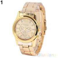 Women Men Luxury Casual Rhinestone Dial Stainless Steel Band Wrist Watch
