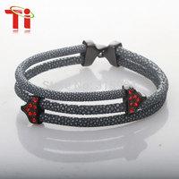 2015 Ti  Exclusive New Arrived gray genuine stingray bracelet with red stone ,Unisex Bracelet Jewelry