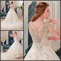 Best Sale sparkling sexy Wedding dress bandage train Wedding dress bride Wedding gown Custom Vestidos 2015