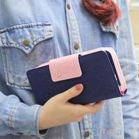 Women's Zipper Faux Leather Card Holder Clutch Wallet Phone Bag Long Purse Bag
