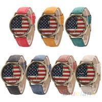 Unisex women men Vintage United States Flag Bronze Denim Band Quartz Analog Wrist Watch