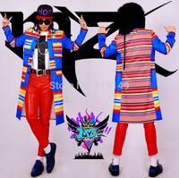 Men's new Bar nightclub singer Korean male DJ right Zhi-long blue coat color stripe long costume coat costumes clothing dress