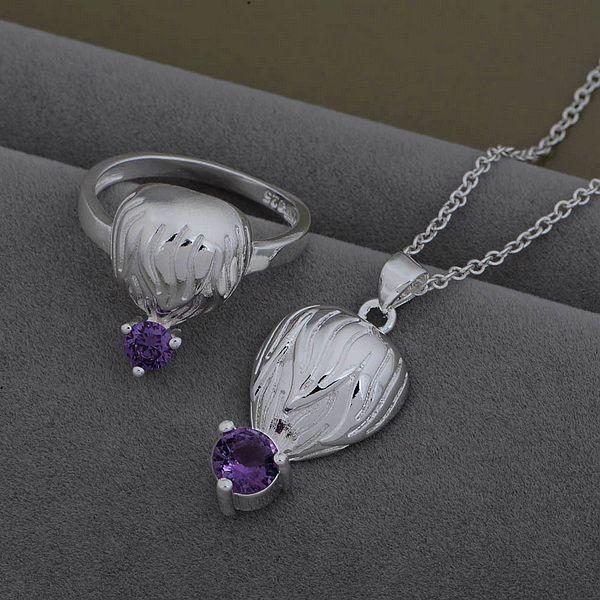 AS531 Hot 925 sterling silver Jewelry Sets Ring 599 + Necklace 926 /bvrakmya bbgajsna(China (Mainland))