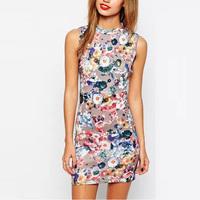 2015 New Design Ladies Elegant Pencil Dress Floral Printed Dress Hip Package Cocktail Wear Sleeveless Zipper Dress GD0124