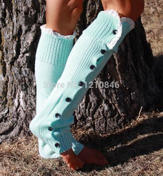 Зима женщины загрузки носки с рюшами КружевоTrim и пуговицах трикотажные гетры женские ...