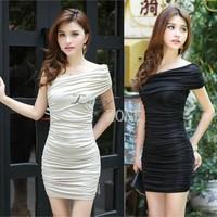 2015 New Women Sexy Elegant Dresses Women One Shoulder Dresses Lady Bodycon Pencil Dress Party Wear Vestido b6