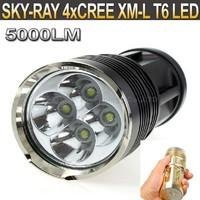 20PCS/LOT SKY RAY KING 4 x CREE XM-L T6 LED 18650 Flashlight 3 Modes High Power 5000 Lumens Flashlight torch