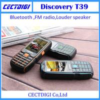 New discovery T39 Waterproof Shockproof Dustproof Mobile Phone longtime standby Dual SIM cards GSM bluetooth 2.1 louder speaker