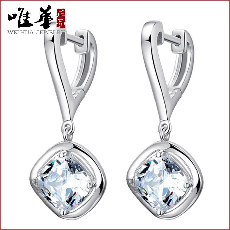 925 sterling silver Noble Elegant earrings Korean fashion Drop Long section earrings Cubic Zirconia jewelry female models