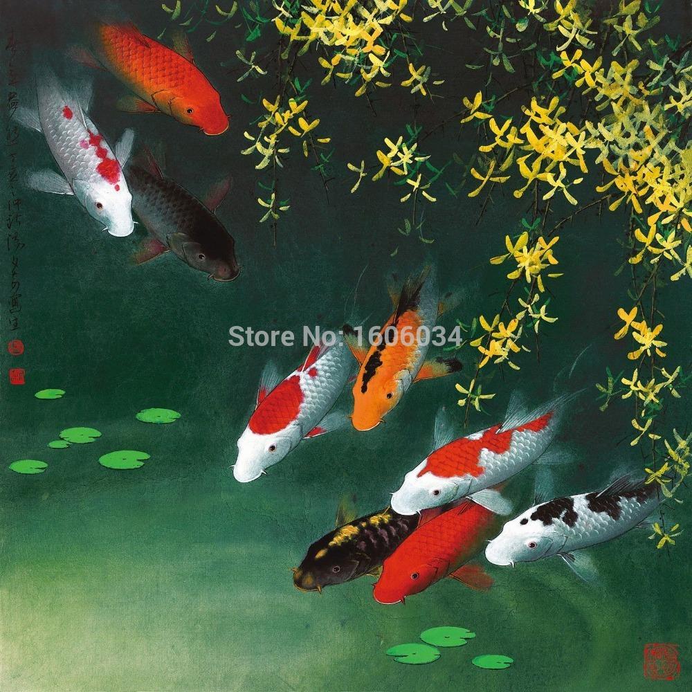 Koi Fish Wall Decor Wallpaper : Koi fish art canvas modern wall decor feng shui