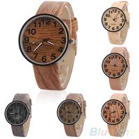 Women's Vintage Wood Grain Faux Leather Bronze Numerals Analog Quartz Dress Wrist Watch