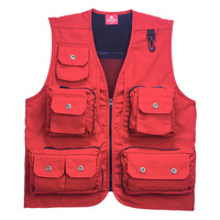 Free shipping, Canvas vest waistcoat male women's multi-pocket vest quinquagenarian vest