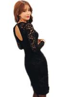 Free Shipping 2015 Women Spring Summer Plus size long-sleeve Lace Dresses, Ol Brand Elegant  Pencil Dresses S-5XL