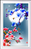 Chinese cross stitch diy round drill 5d diamond embroidered painting flowers moon magnolia butterfly picture rhinestonespasted