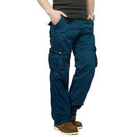 Fashion casual 2015 Men's Multi-pocket design Loose cargo pants Stylish Casual men fertilizer to increase Long trousers 4 colors