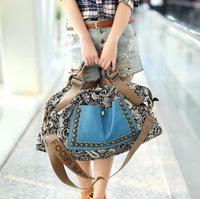 2015 New Arrive Fashion Autumn Fashion Woman messenger & handbag bags leather bag National wind package  rivet PU+ canvas bag