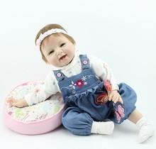 22 polegadas Silicone vinil renascer Baby Dolls menino de sorriso Real Photo Handmade Boneca Reborn Baby Alive brinquedos meninas presente de aniversário(China (Mainland))